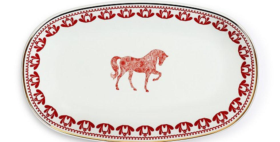 Horse Luck Collection Red - 29cm Kayık Servis Tabak
