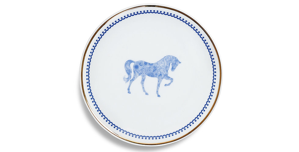 Horse Luck Collection-Blue 17cm At Figürlü Lacivert Ekmek Tabak