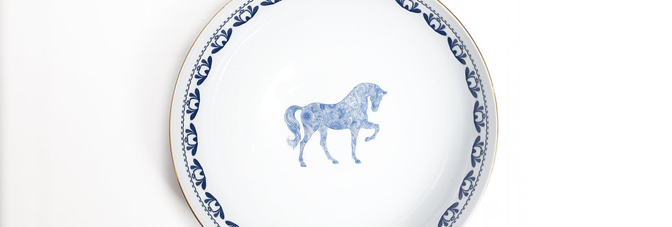 Horse Luck Collection-Blue 25cm At Figürlü Lacivert Büyük Servis Kase