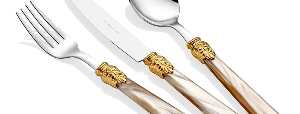 Elena Ring Şampanya 75 Parça Çatal Bıçak Seti