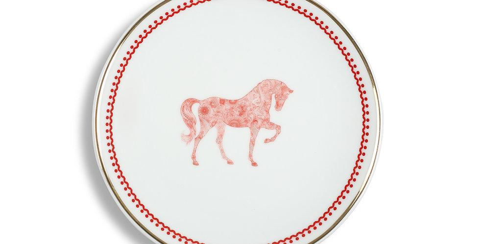 Horse Luck Collection-Red 17cm At Figürlü Bordo Ekmek Tabak