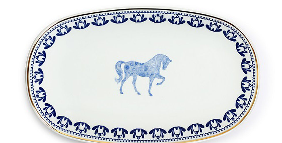 Horse Luck Collection Blue - 29 cm Kayık Servis Tabak