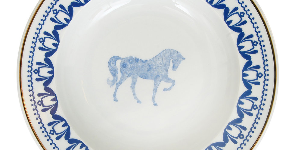 Horse Luck Collection-Blue 22cm At Figürlü Lacivert Çukur Tabak