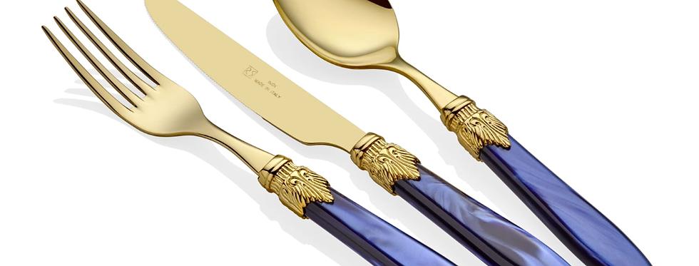 Laura Oro Lacivert 75 Parça Çatal Bıçak Seti