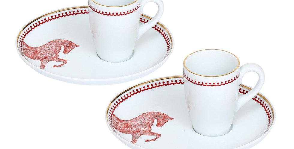 Horse Luck Collection-Red At Figürlü Bordo 2'li Kahve Fincan Seti (Espresso)