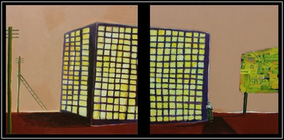 bombarded series - mixed media on board - 120x120cm each, diptych - 2005