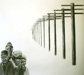 Title ,The Chorus - Medium  Charcoal on Paper -Dimension  90x90cm