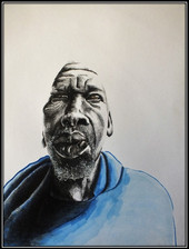 father's day series - ballpoint, ink washes on fabriono - 60x40cm - 2018