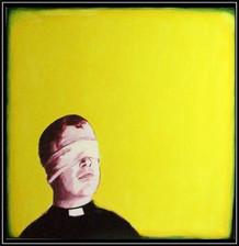 window dress puppet master series 1 - acrylic on board - 120x120cm - 2003