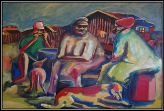 seated women - oil on canvas – 140x190 - 1997