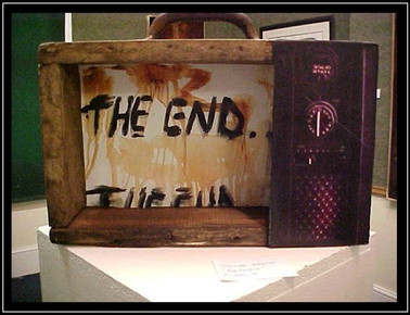 the end - mixed media on a suitcase - 40x70cm - 2002