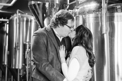 brewery engagement kiss