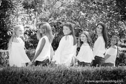 Tween girls looking back