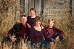 Family and their lab dog