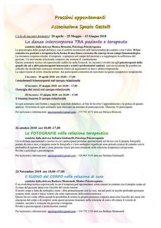 Programma attività Associazione Spazio Gestalt
