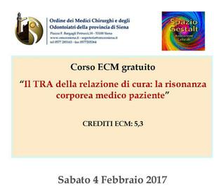 Siena, Sabato 4 Febbraio - Il TRA della relazione di cura: la risonanza corporea medico paziente