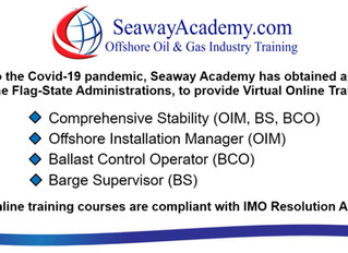 """Seaway Academy to provide """"Virtual Online Training"""" for the following courses: Comprehensi"""
