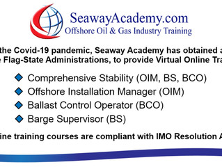 "Seaway Academy to provide ""Virtual Online Training"" for the following courses: Comprehensi"