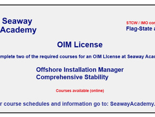 Offshore Installation Manger (OIM) training available online at Seaway Academy