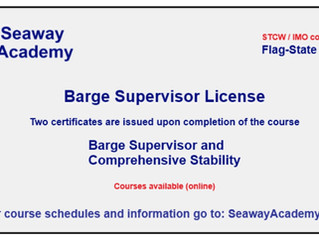 Barge Supervisor training is available online at Seaway Academy