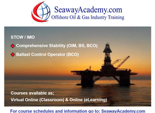 STCW / IMO Comprehensive Stability (OIM, BS, BCO) and Ballast Control Operator (BCO) courses availab