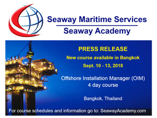 PRESS RELEASE: New Offshore Installation Manager (OIM) Course Available In Bangkok