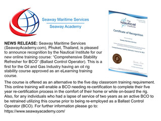 The Nautical Institute Recognizes eLearning Course for Seaway Academy