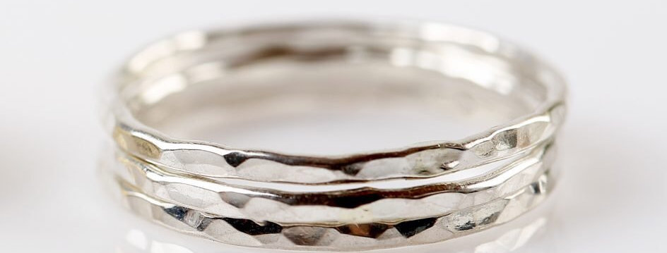Silver Textured stack rings - Set of 3