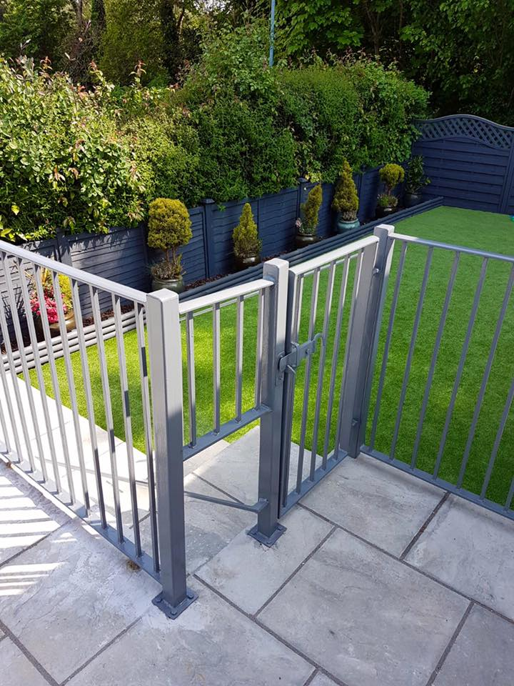 Railings with dog gate