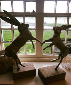 Boxing Hares Stainless Steel