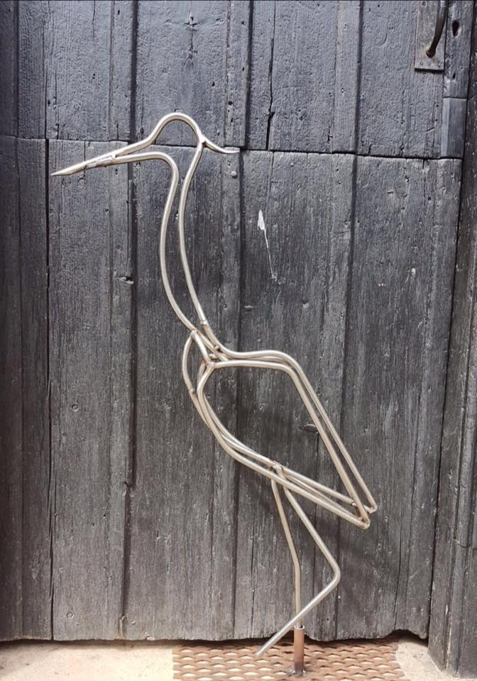 Stainless Heron Sculpture