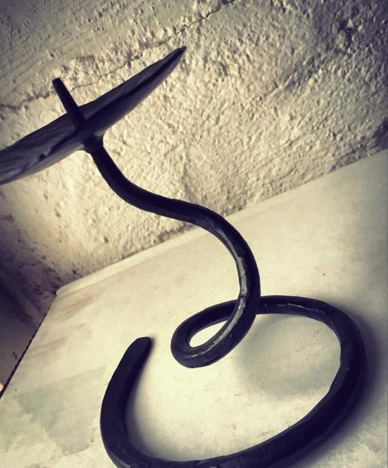 Hand forged candle stick