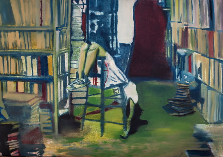 Library chair girl oil painting