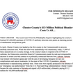 PRESS RELEASE- CHESTER COUNTY'S $13 MILLION POLITICAL BLUNDER COSTS US ALL...