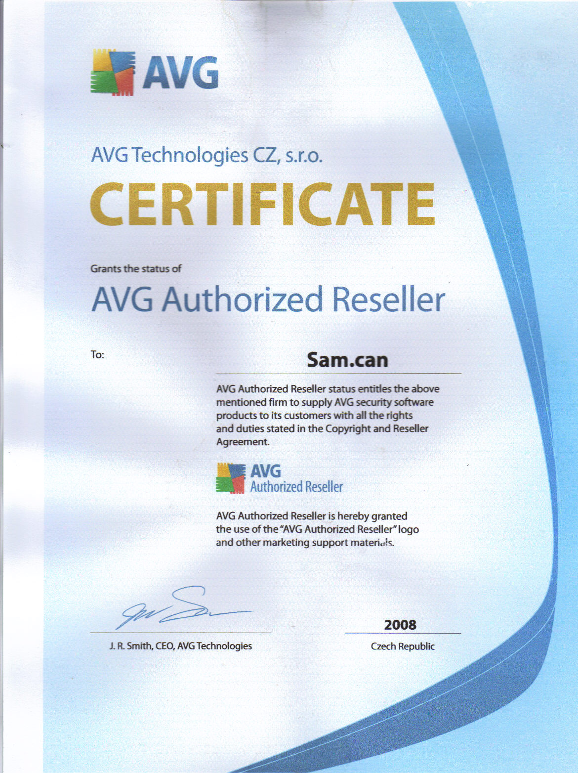 AVG Sam Certif. 2008