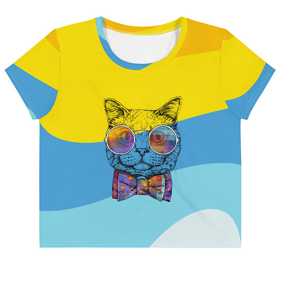 Funky Cat by Funky Lemon All-Over Print Crop Tee