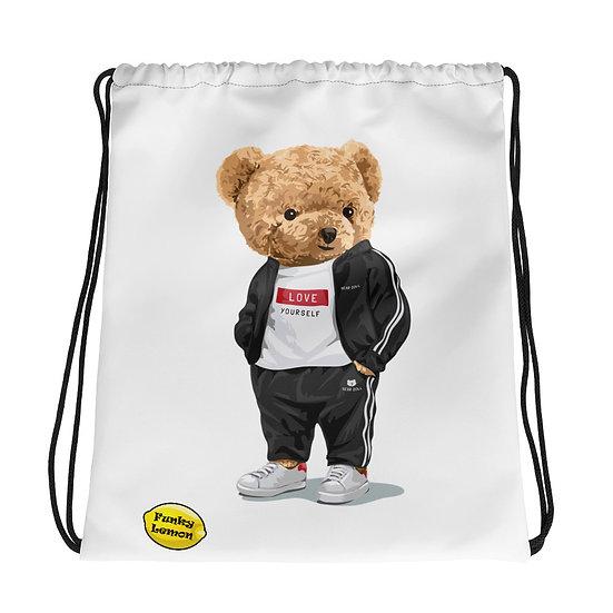 Teddy Bear by Funky Lemon Drawstring bag