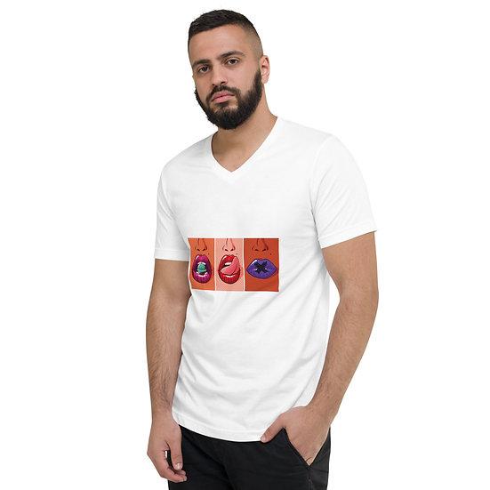 Lips by Funky Lemon Short Sleeve V-Neck T-Shirt