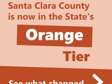 Santa Clara County moves to Orange Tier!