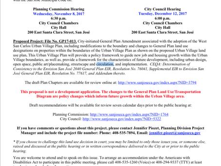 Public Hearing Notice: Regarding the West San Carlos Urban Village Plan