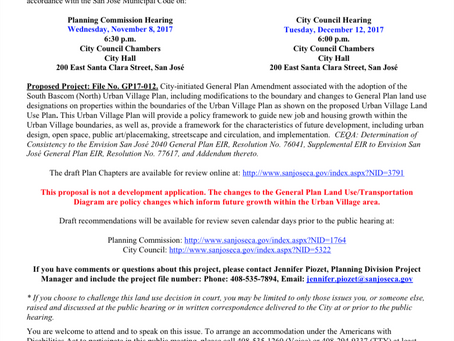 Public Hearing Notice: Regarding the South Bascom North Urban Village Plan