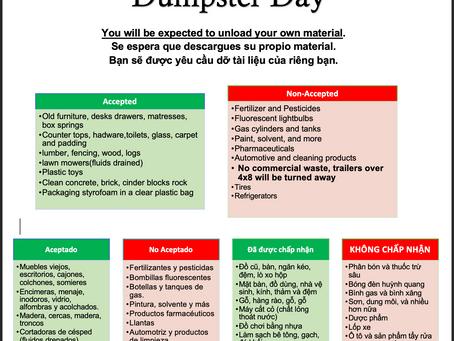 BVNA Dumpster Day 7/17/21
