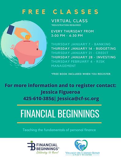 Financial Beginnings classes in January.
