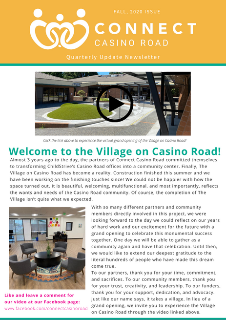 Fall 2020 Quarterly Update: Welcome to the Village on Casino Road!