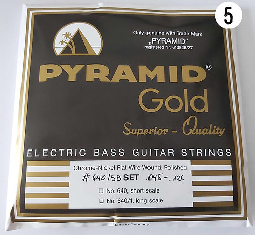 """Pyramid 5 Strings Set Flatwound - 34"""" Scale   .045 .065 .085 .105 .126  """
