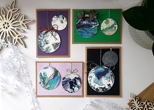 Handmade Christmas Bauble Cards Set 1