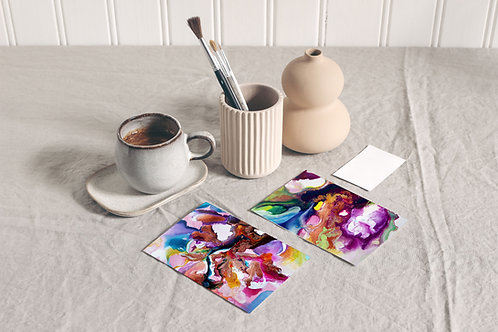 Flow Moments Miniature Art Print Set - A6 Set of 4
