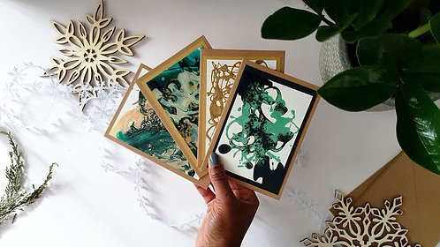 Handmade Abstract Christmas Cards Set