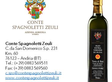 Olio Extravergine di Oliva - DOP Terra di Bari Castel del Monte 2019/2020- Conte Spagnoletti Zeuli