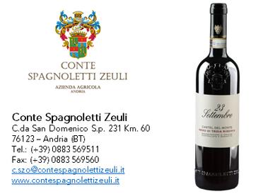23 settembre - Castel del Monte Nero di Troia Riserva DOCG 2015 - Conte Spagnoletti Zeuli